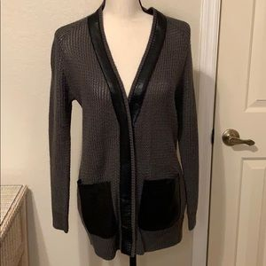 Cotton Candy Grey Cardigan Faux Leather Trim